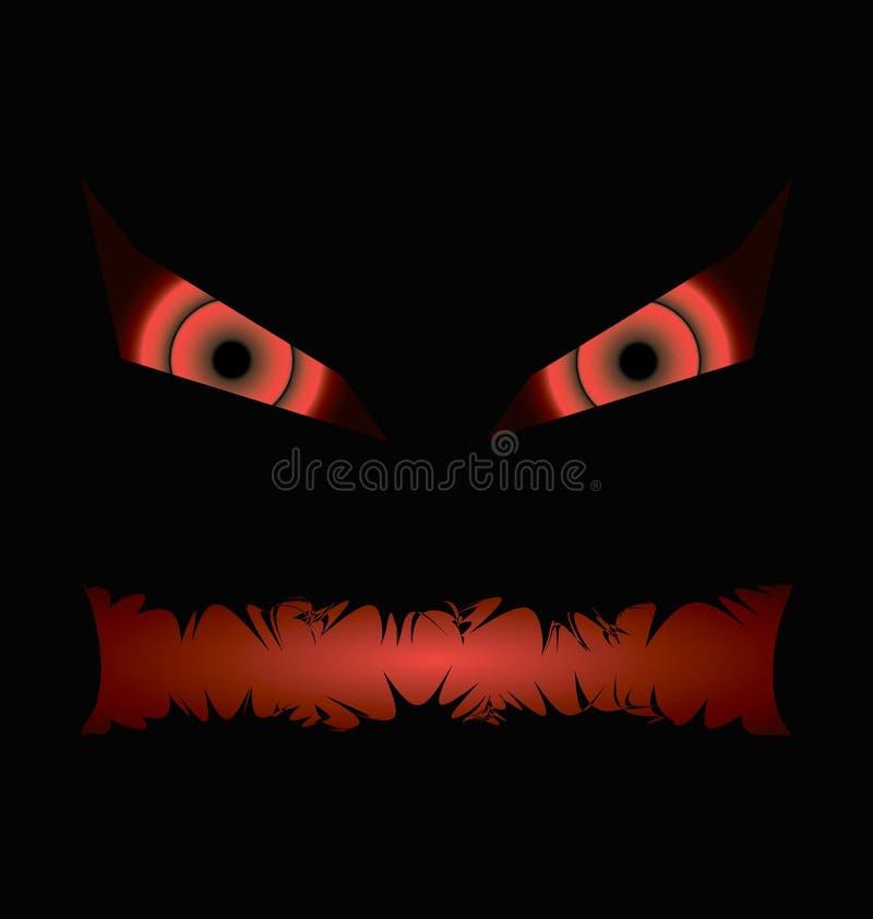 Cara má preta do Dia das Bruxas com uma boca toothy ilustração royalty free