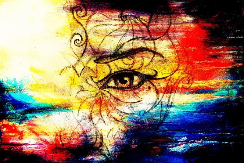 Cara místico da mulher com ornamento floral Tirando no papel, efeito da cor Contato de olho colagem do computador ilustração stock