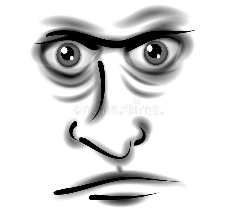 Cara mala enojada gruñona del hombre stock de ilustración