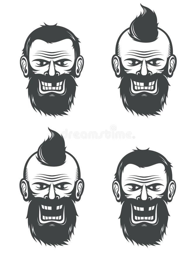 Cara malvada de un hombre barbudo libre illustration