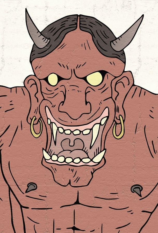 Cara malvada del demonio stock de ilustración