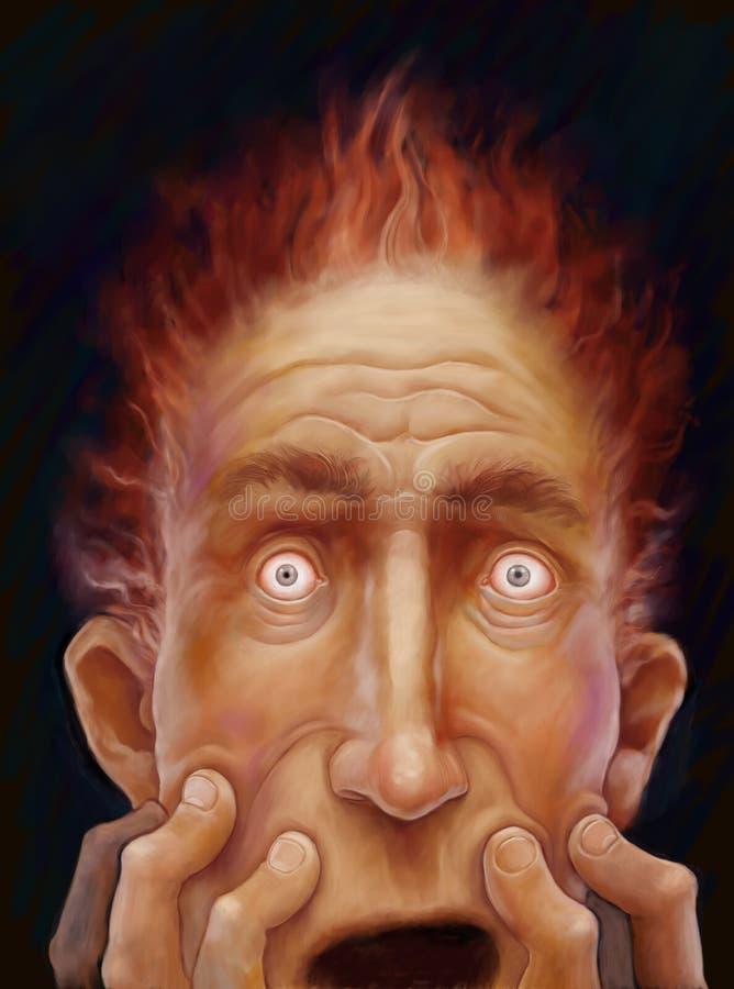 Cara masculina asustada stock de ilustración