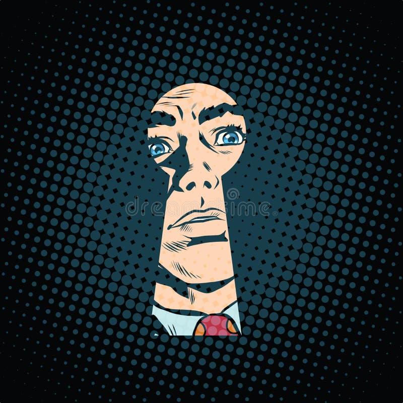 Cara masculina en el ojo de la cerradura, misterio secreto ilustración del vector