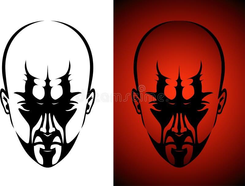 Cara masculina en sombras stock de ilustración