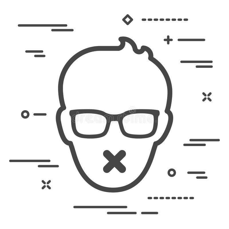 Cara masculina plana con los vidrios y la cinta pegajosa en su boca censor stock de ilustración