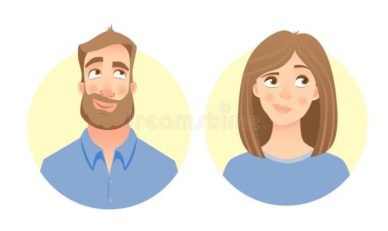 Cara masculina y femenina stock de ilustración