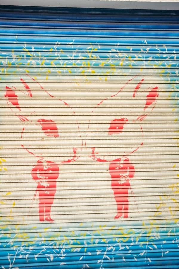 Cara modelo desenhado à mão da arte da rua do retrato ilustração do vetor