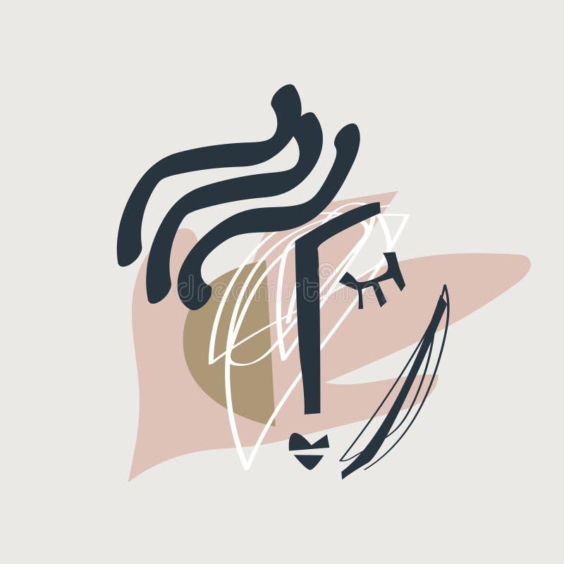 Cara moderna con formas abstractas, impresión elegante aislada del collage Vector e imagen del jpg, clipart, detalles aislados ed ilustración del vector