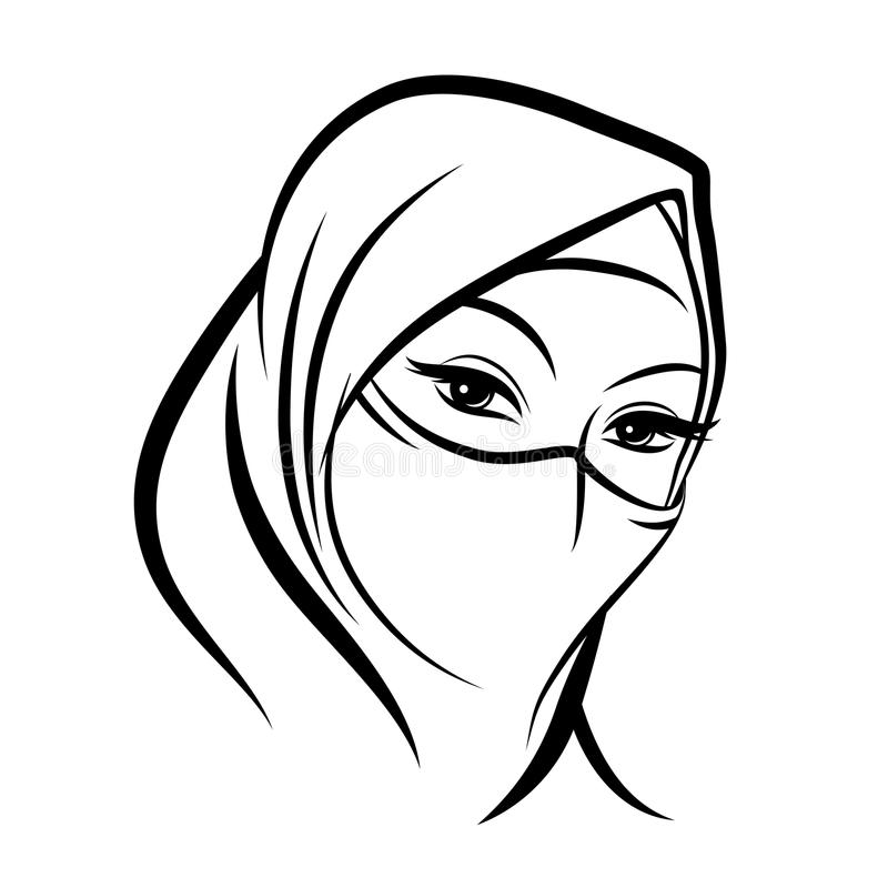 Cara musulmán árabe de la mujer stock de ilustración