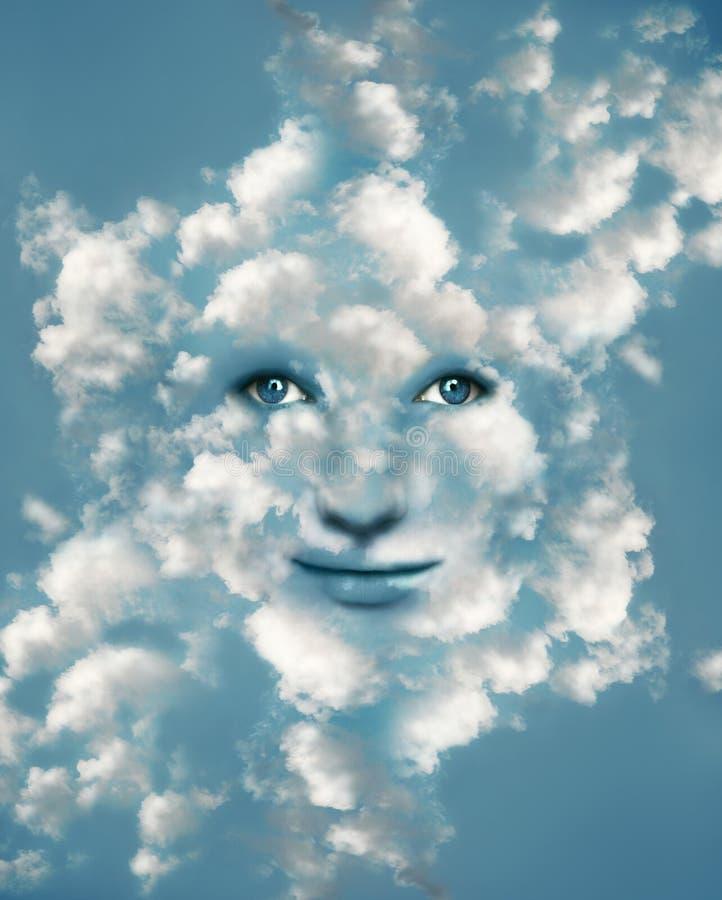 Cara nas nuvens ilustração stock