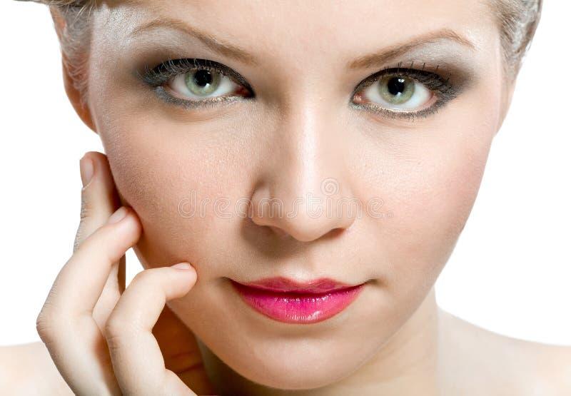 Cara natural atractiva de la mujer imagen de archivo