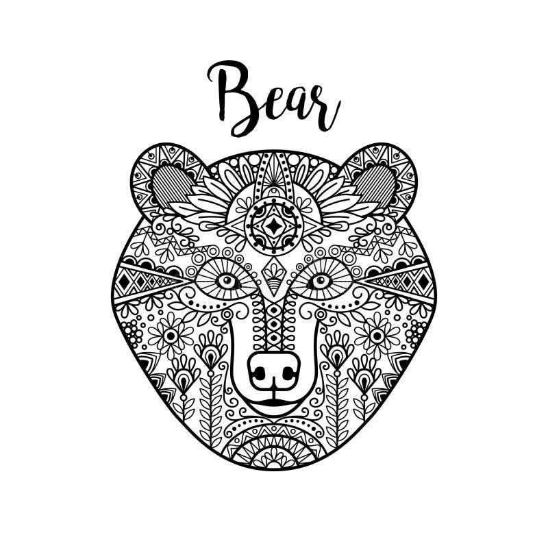 Cara negra dibujada mano del oso del garabato stock de ilustración
