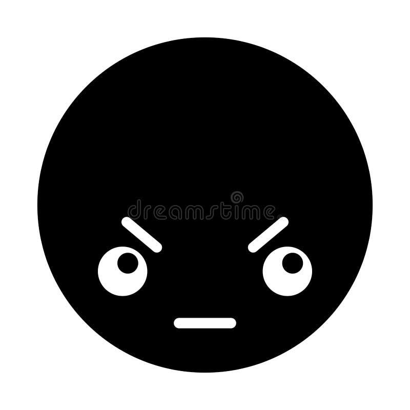 Cara negra enojada del emoticon del kawaii ilustración del vector