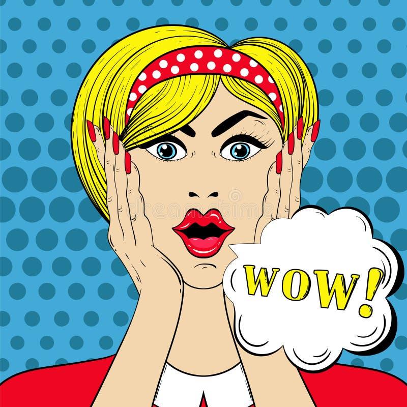 Cara no estilo do pop art, mulher assustado surpreendida do wow com uau-sinal ilustração royalty free