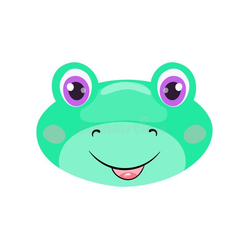Cara o máscara linda de la rana aislada en el fondo blanco Sapo de la historieta con los ojos brillantes, la sonrisa y la clase ilustración del vector