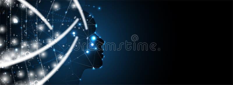 Cara oscura de la mujer de la inteligencia artificial Fondo del web de la tecnología Concentrado virtual libre illustration