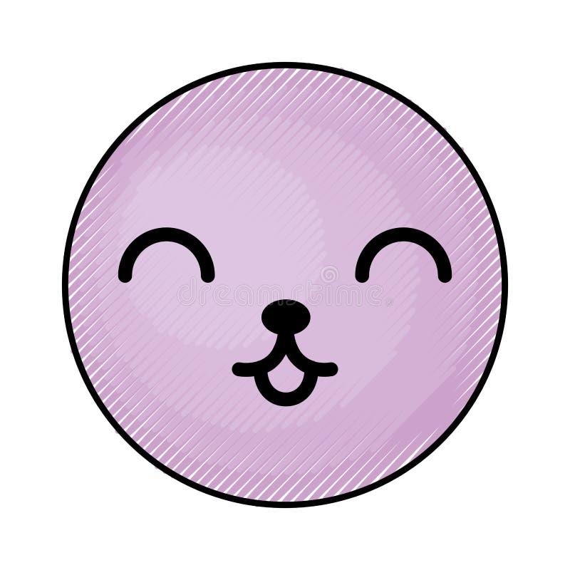 Cara púrpura linda del emoticon del kawaii stock de ilustración