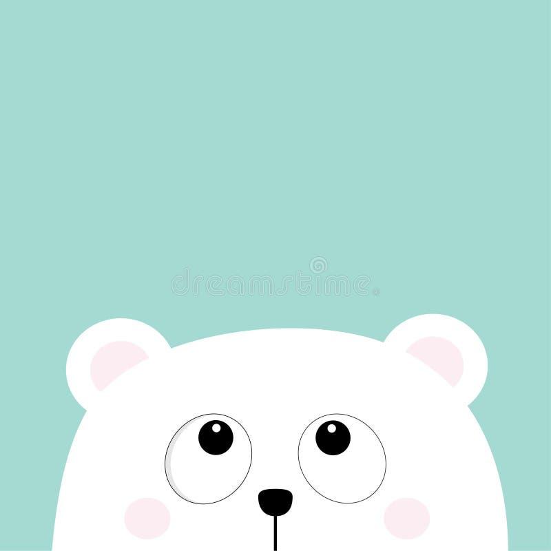 Cara pequena pequena branca polar da cabeça do filhote de urso que olha acima Olhos grandes Caráter bonito do bebê dos desenhos a ilustração do vetor