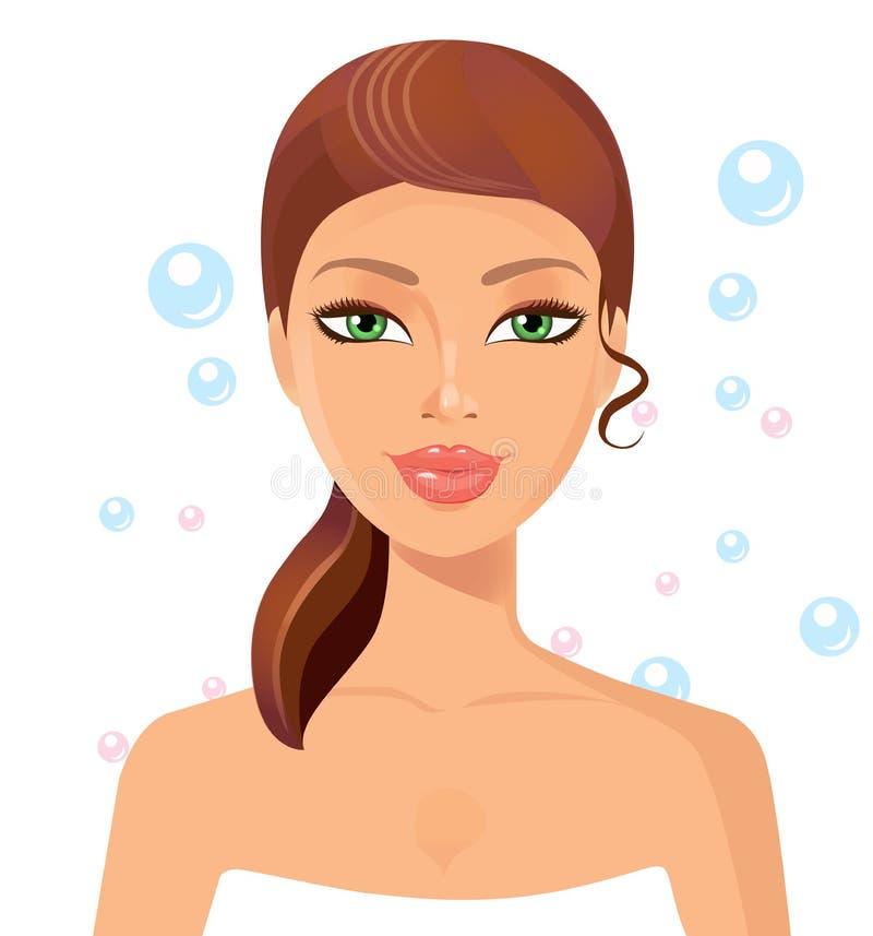 Cara perfecta hermosa de la mujer joven con las burbujas Balneario de la belleza de la piel ilustración del vector