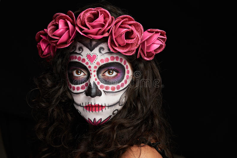 Cara pintada para Halloween foto de archivo