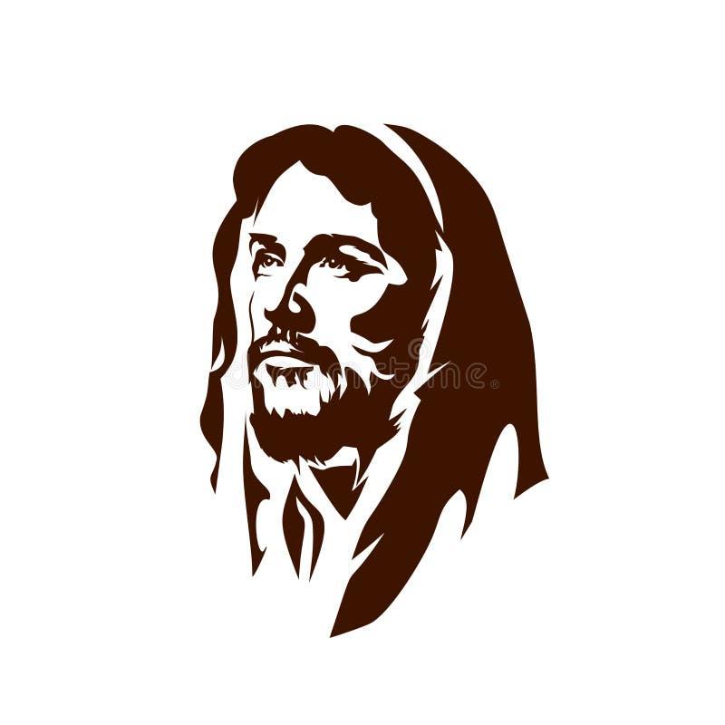 Cara pintado à mão de Jesus Christ ilustração royalty free