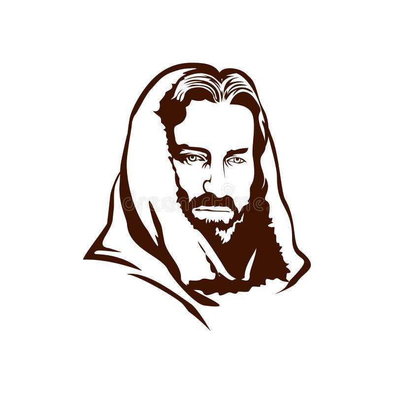 Cara pintado à mão de Jesus Christ ilustração do vetor