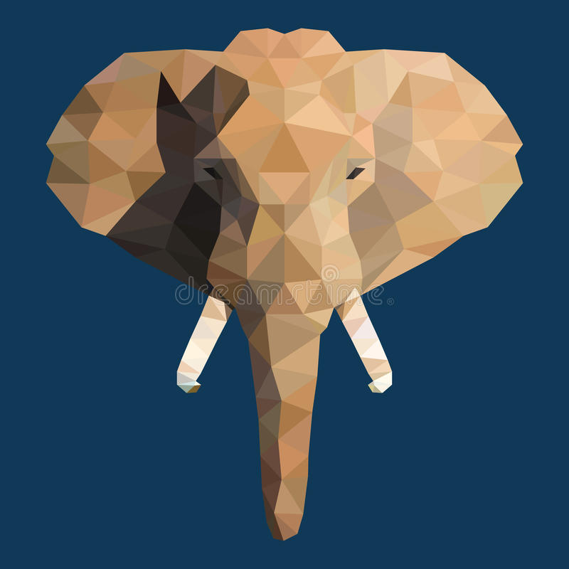 Cara poligonal do elefante ilustração royalty free