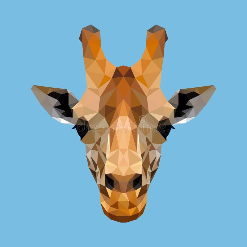 Cara poligonal do girafa ilustração royalty free