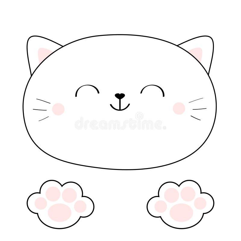 Cara principal do gato Ícone linear da silhueta Almofadas do rosa do pé do pé da cópia da pata Linha de contorno Caráter bonito d ilustração do vetor