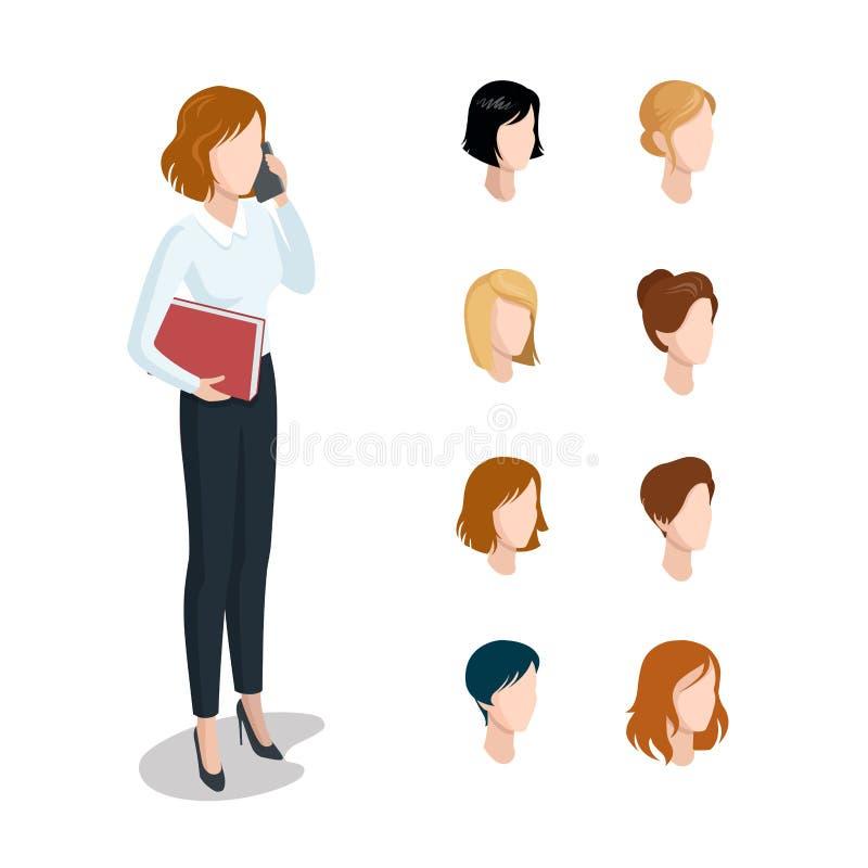 A cara principal isométrica lisa datilografa o penteado co da mulher ilustração do vetor