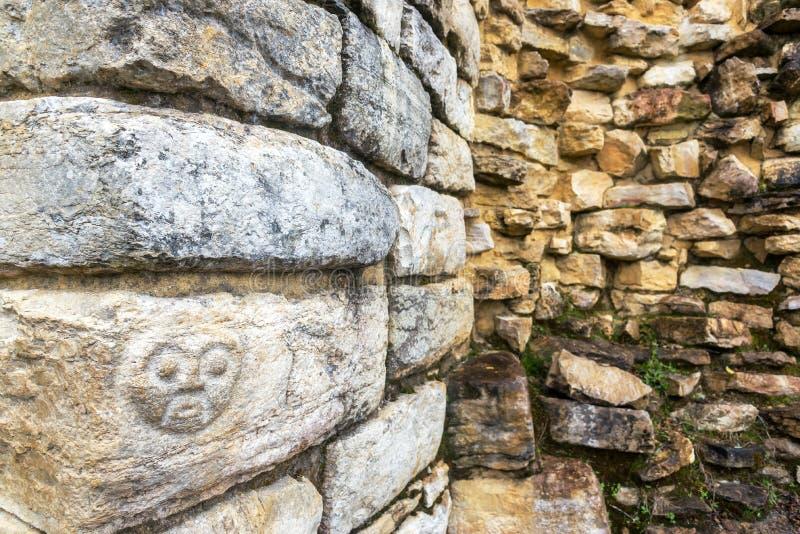 Cara que cinzela em Kuelap, Peru fotografia de stock royalty free