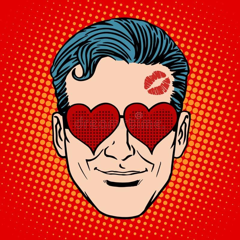 Cara retro do homem do amante de Emoji ilustração royalty free