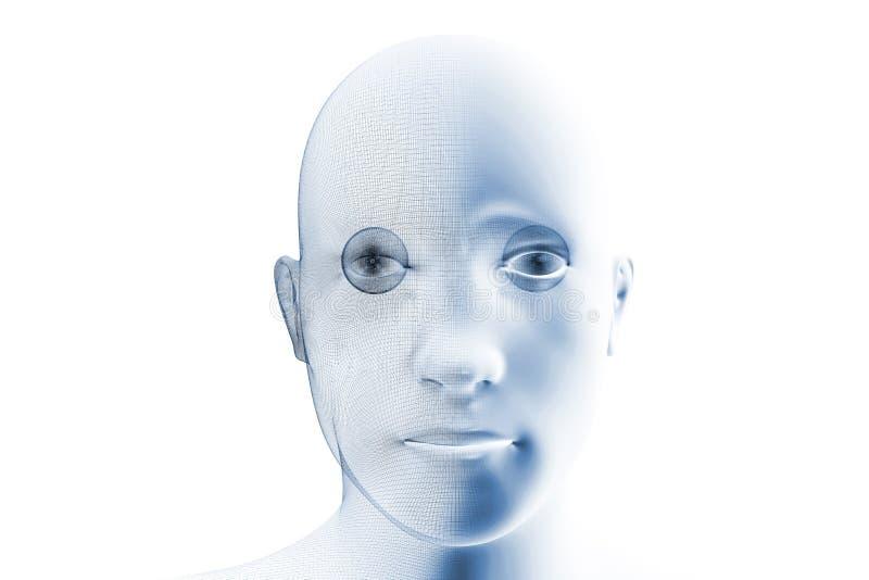 Cara robótica del Humanoid stock de ilustración