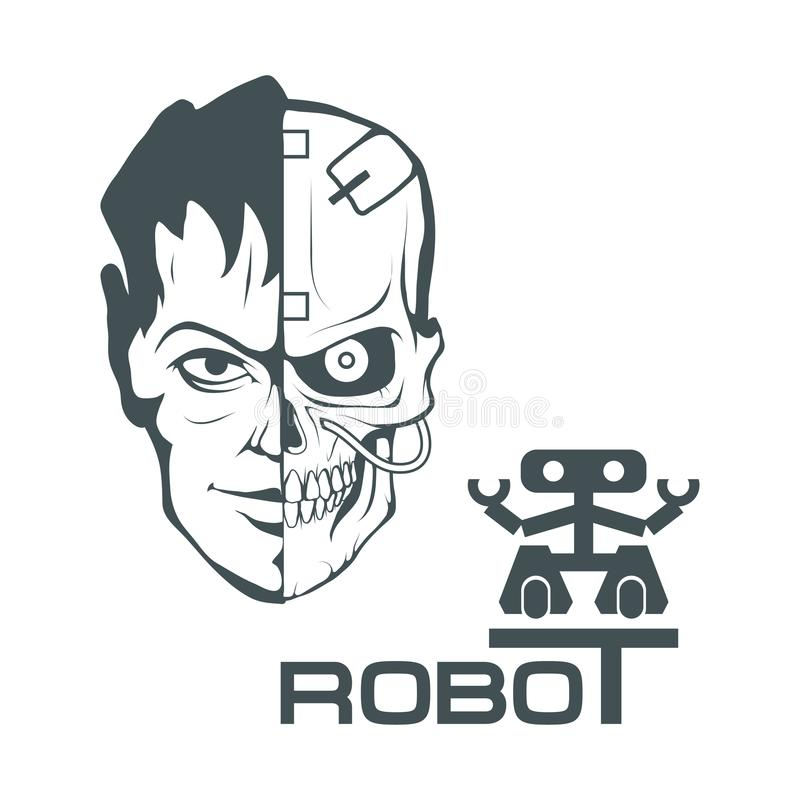 Cara robótica Logotipo del robot para el diseño robótica stock de ilustración