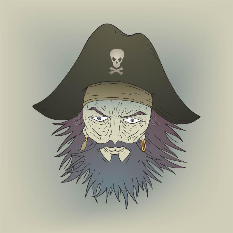 Cara rude do pirata ilustração royalty free