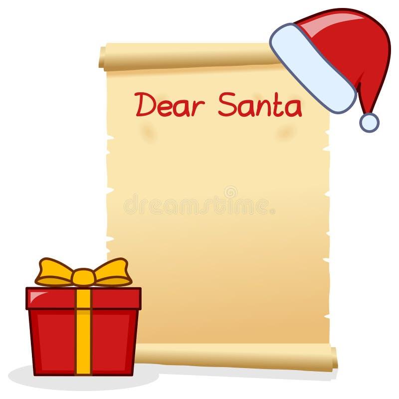 Cara Santa Christmas Letter com presente vermelho ilustração stock