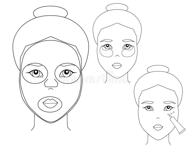 Cara simple de la mujer con los remiendos del ojo La muchacha asiática pone una crema de la mascarilla y del ojo Procedimientos d stock de ilustración