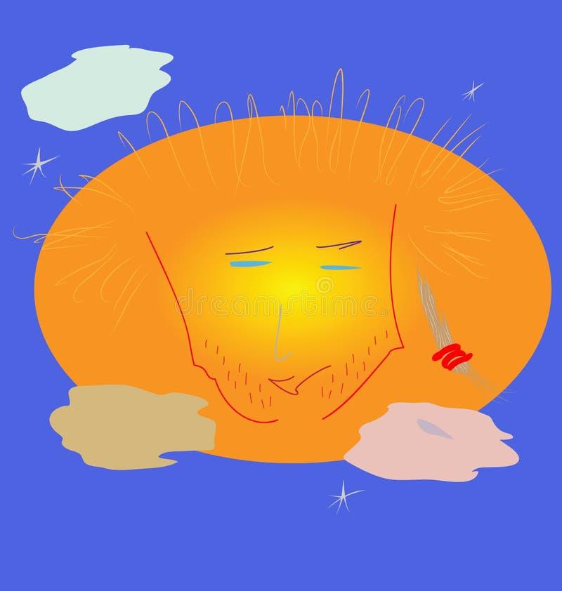Cara sin afeitar del Sun, cubierta por las nubes, cerca del st de la mañana foto de archivo