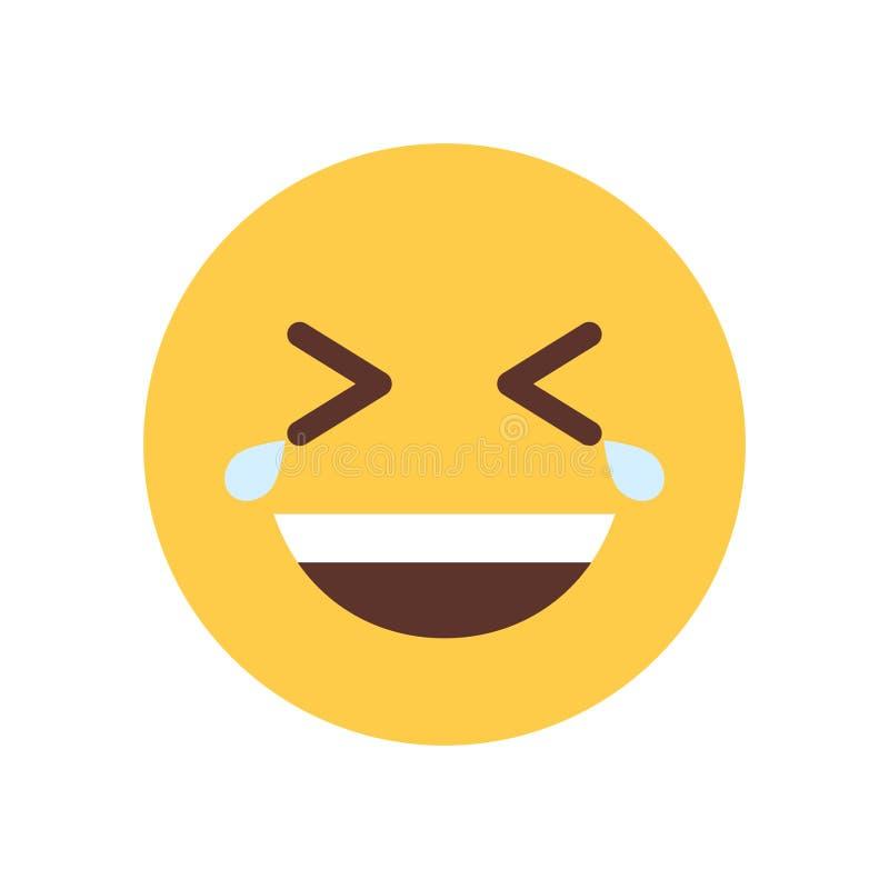 Cara sonriente amarilla de la historieta que ríe el icono de la emoción de la gente de Emoji libre illustration