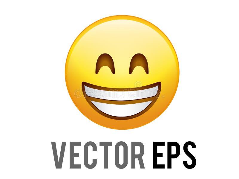 Cara sonriente amarilla de la pendiente del vector con el icono blanco de los dientes stock de ilustración