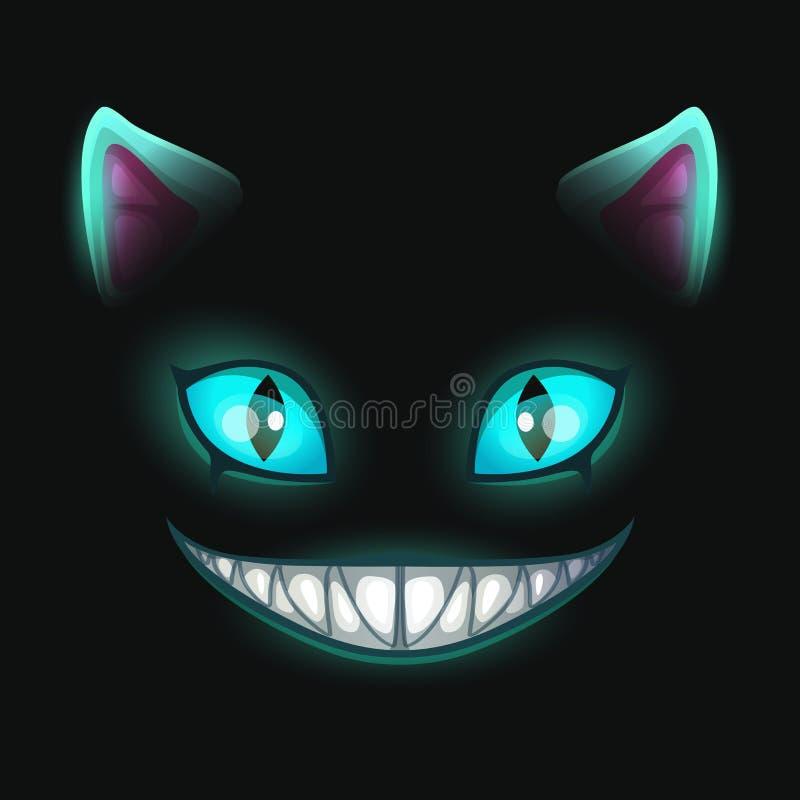 Cara sonriente asustadiza del gato de la fantasía en fondo negro stock de ilustración