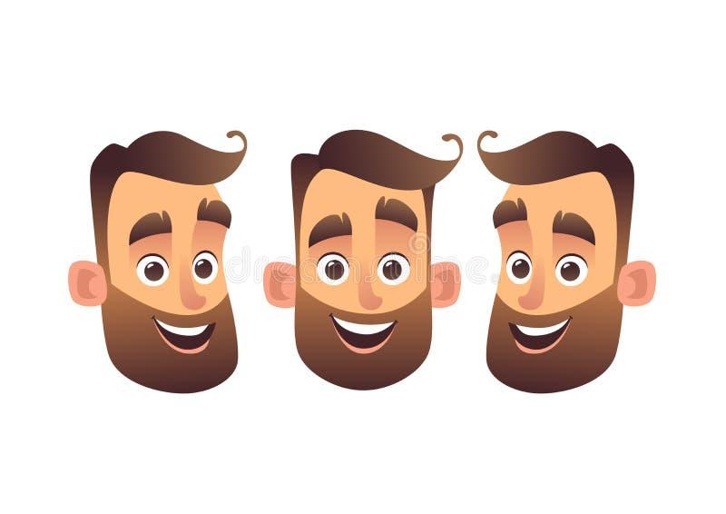 Cara sonriente barbuda del ejemplo del vector del hombre en estilo de la historieta stock de ilustración