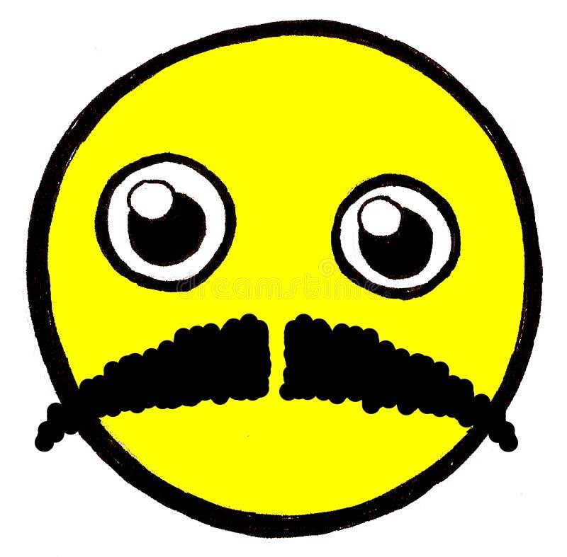 Cara sonriente con el bigote ilustración del vector