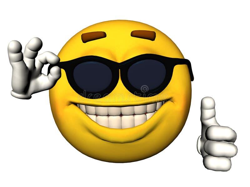 Cara sonriente con los pulgares para arriba ilustración del vector