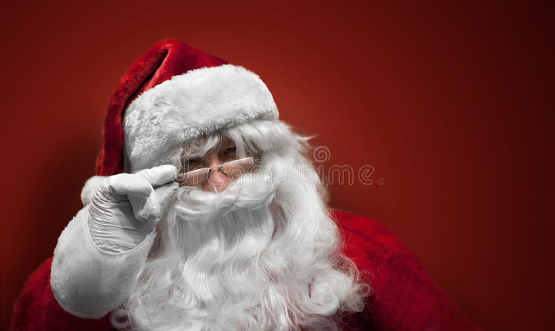 Cara sonriente de Papá Noel fotografía de archivo