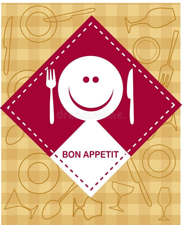 Cara sonriente feliz con la fork y el cuchillo stock de ilustración