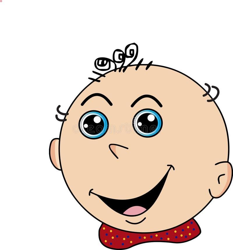 Cara sonriente feliz del niño de la historieta, imagen del vector stock de ilustración