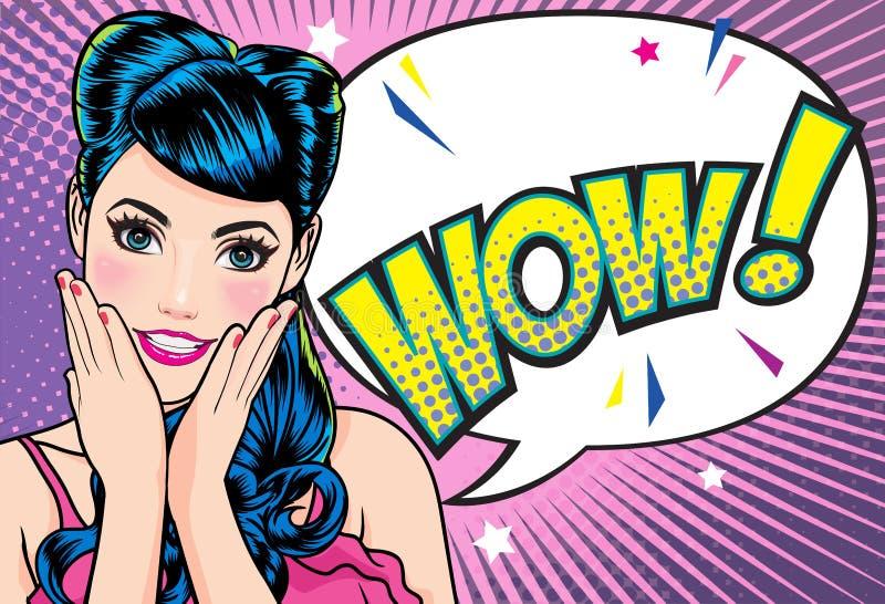 Cara sorprendida de la mujer con la boca abierta con los labios rosados con estilo de los tebeos del arte pop del fondo del punto ilustración del vector
