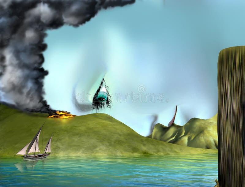 Cara surrealista del paisaje stock de ilustración