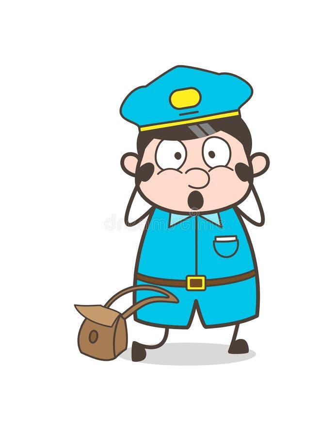 Cara temível chocada do Postal-empregado ilustração do vetor